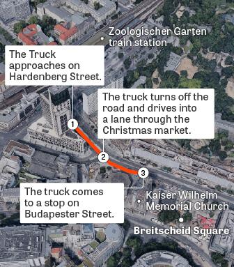 Übersichtskarte des Anschlages auf den Weihnachtsmarkt am Breitscheidplatz in Berlin