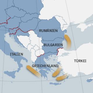 Mögliche neue Routen für Flüchtlinge, die von der Türkei oder ostgriechischen Inseln starten