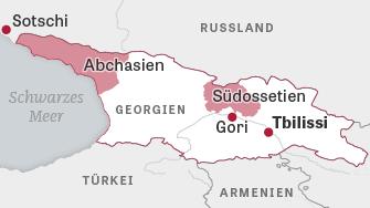 Lage der abtrünnigen Gebiete Abchasien und Südossetien in Georgien