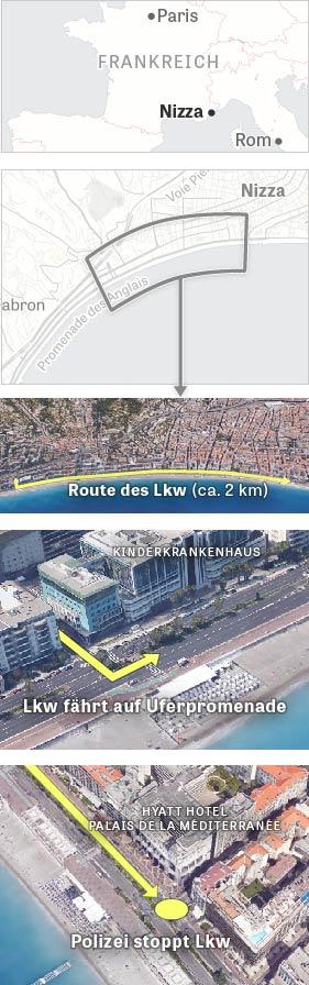 Übersichtskarte des Anschlags in Nizza