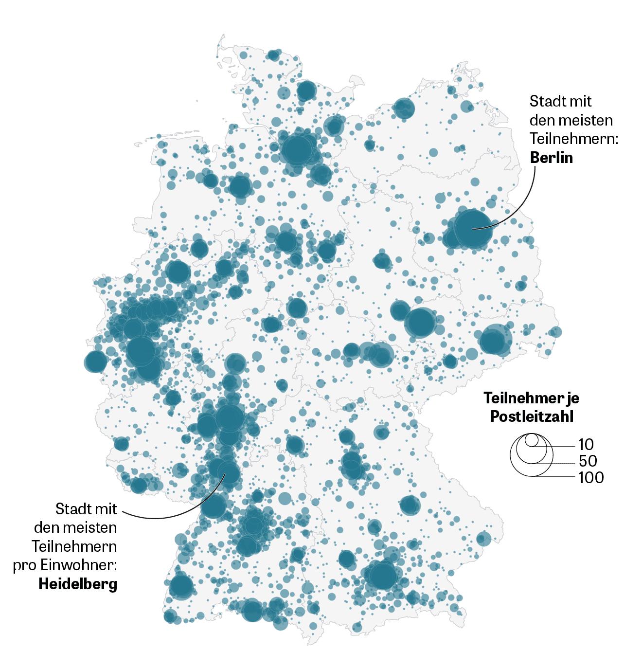 Deutschlandkarte mit den Wohnorten der Teilnehmer